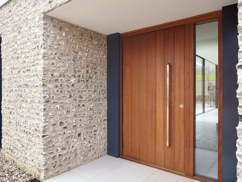 Oiled iroko wooden front door