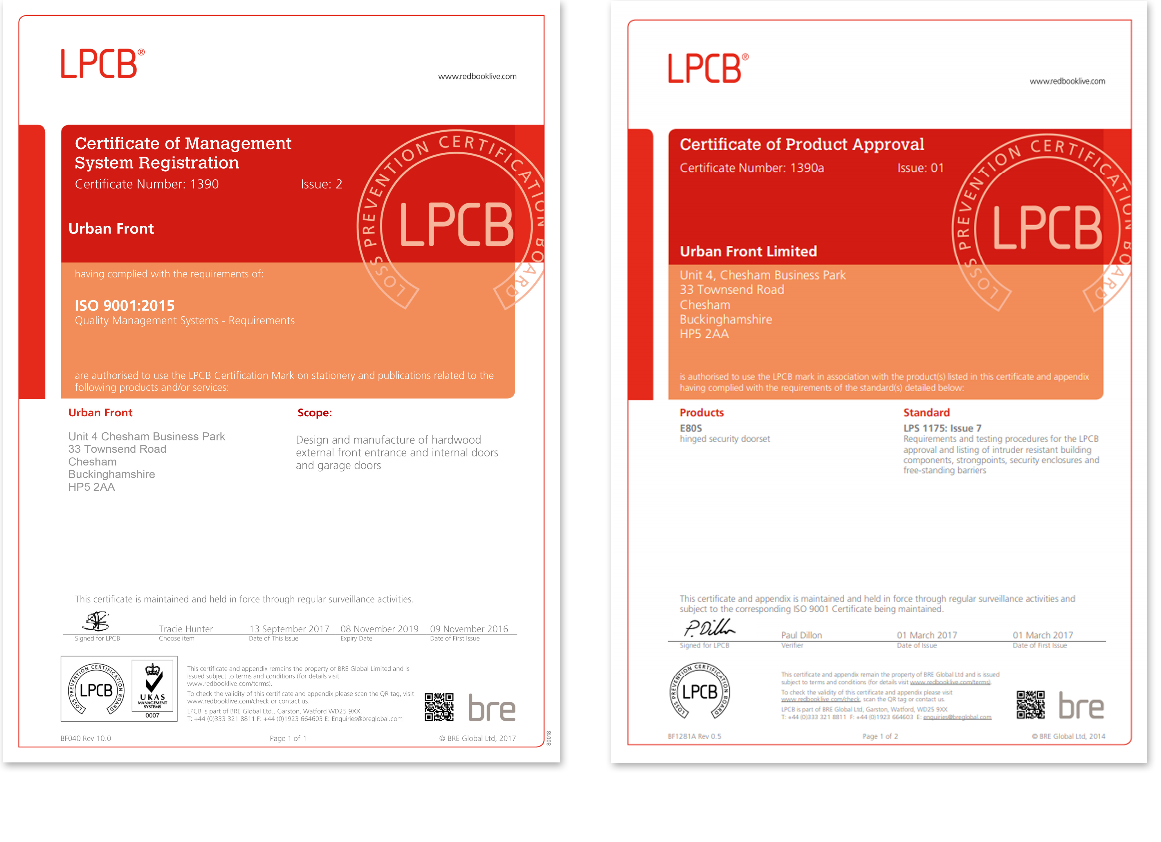 door certifications ISO 9001 & LPCB Urban Front