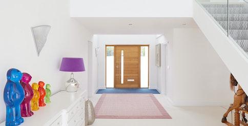 Oak terano door with 2 side lights