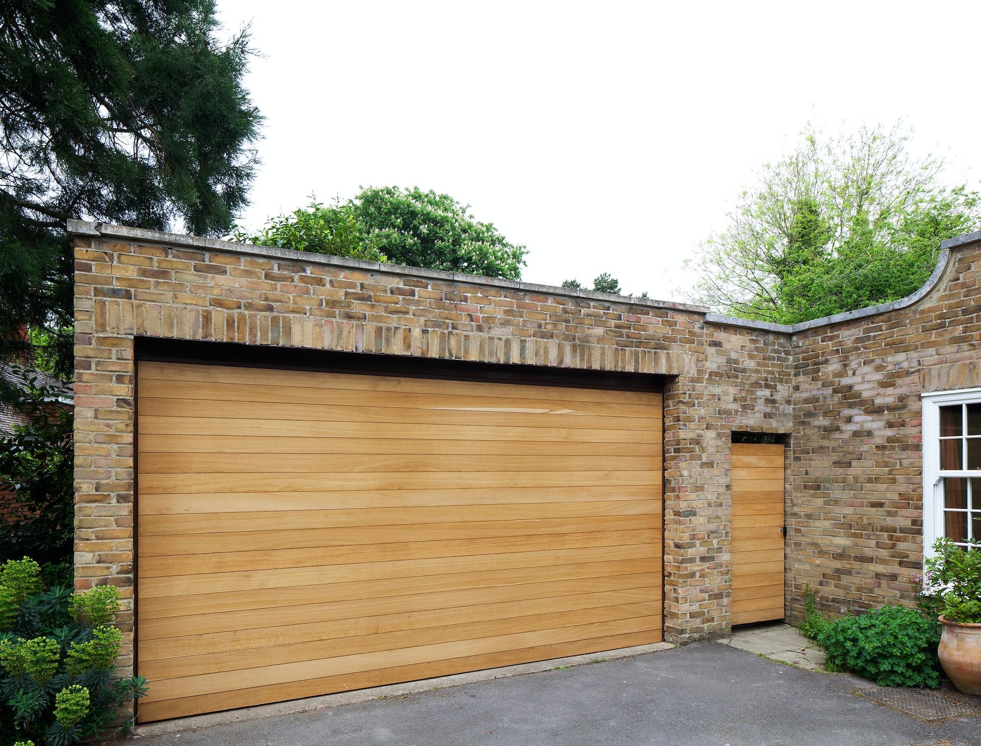 Garage door in oak